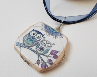 Owl Polymer Clay Pendant, Wrapped Wire pendant Handmade necklace, Owls Drawing, Boho Zentangle Necklace, OOAK Pendant Jewelry, Valentine day
