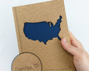 UNITED STATES Map, TRAVEL Notebook, Personalized Journal, Travel Journal, Custom Journal, Custom Notebook, Custom Name Notebook, Usa Map, A5