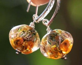 Lampwork and silver earrings, Glass Earrings, Ocean Earrings, artisan lampwork bead 3D, Earrings Lampwork Aquarium, orange, yellow, green