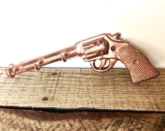 Rustic Copper Gun Hook - Gifts For Dad - Key Holder - Rustic Wall Hooks - Wall Key Hooks - Cast Iron Hooks - Hunting Wall Decor