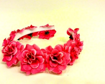 Hot Pink, Flower Crown, Baby Shower, Maternity Headband, Floral Headband, Rose Halo, Ultra Flower Crown, Firefly, Hair Wreath, Head Garland