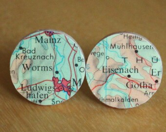 Martin Luther Bach Reformation Germany Handmade Recycled Map Cuff Links