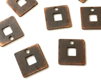9x9 mm 50 pcs Copper  Square  Brass charms ,blank,pendant,findings