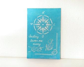compass painting, nautical painting, nautical room decor, nautical gift, sailing painting, sailing gift