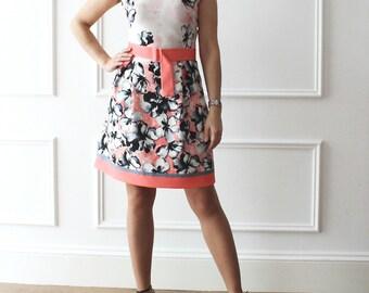 fancy dress, floral dress, dress, flowered dress, italian style, chic dress, dress with pleats, 50 years, apparel, dress,
