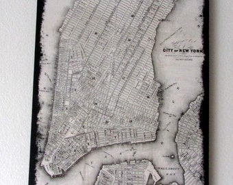 1800's Map of New York 11 X 14 Canvas Prrint