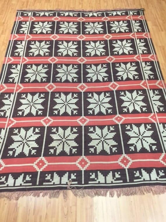 """5'10"""" x 8' Turkish Kilim Oriental Rug - Hand Made - 100% Wool - Unique Two Sided"""