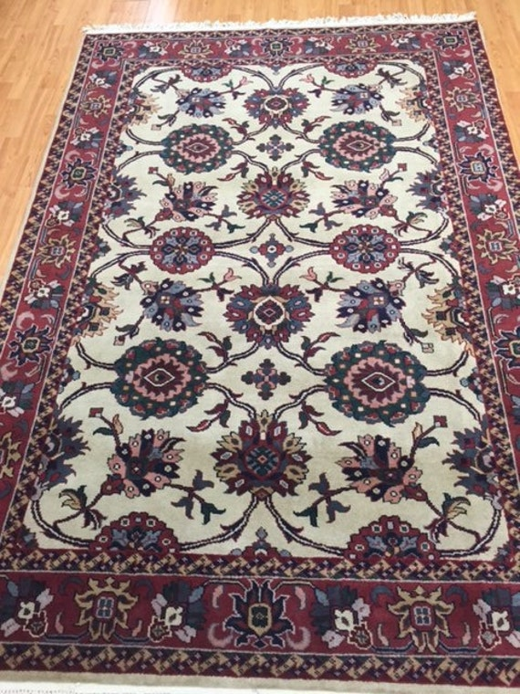 "5'8"" x 8'4"" Indian Agra Oriental Rug - Hand Made - 100% Wool Pile"