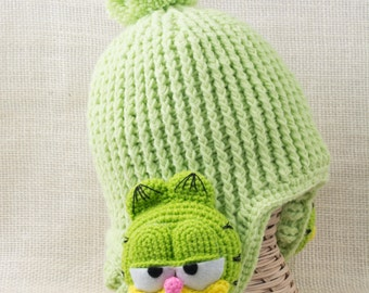 Crochet Hat with ear flaps garfield, Hats for Kids, Toddler hat
