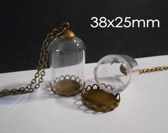 1 Glass globe necklace Bronze Lid Bronze Chain Dome Bubble Wish Bottle Vial Orb Terrarium Necklace Terrarium Pendant Dandelion Globe Pendant