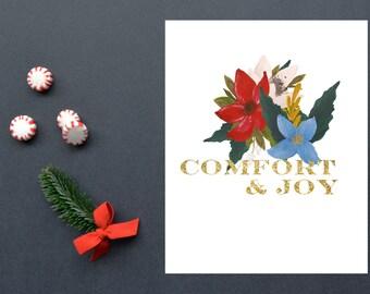 Comfort and Joy,Christmas, Christmas Decoration,Holiday, 8x10, Instant Download, Printable artwork, Digital Art, Printable Wall Art