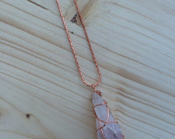 Copper Wire-wrapped Amethyst Crystal Pendant Necklace