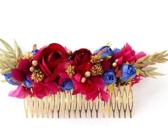 Hair,comb,flower,dried,pink,blue,navy,oatmeal,hair,comb,flower,barrette,boho, chic,natural,handmade,artisan,exclusive,original,boho,festival