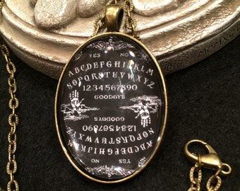 Vintage Black and White Ouija Board Palmistry Winged Skulls Bronze or Silver Pendant Necklace Gothic Victorian Occult Psychic Spirits
