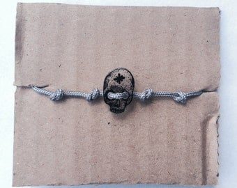 Skull shrinky dink shrink plastic bracelet hand drawn