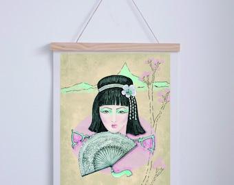 "Blade ""Geisha with fan"". A3. Illustration Digital.AnabellaIlustracion"