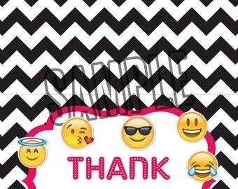 emoji thank you card etsy