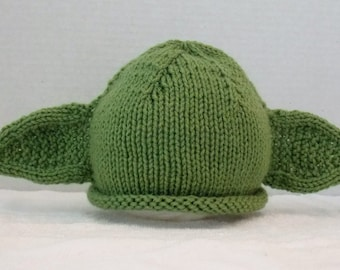 Hand Knitted Baby Hat, Green Knitted Baby Hat, Yoda Hat, Photo Prop Hat, Baby Star Wars Hat, Winter Baby Hat
