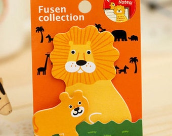 Mini Lion Animal Parent-Child Sticky Notes / Animal Sticky Notes / Animal Memo Pad / Kawaii Stationery / Cute Stationary / School Supplies