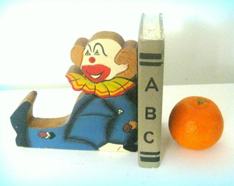Old bookends vintage circus vintage clown Book table decorations home decor OLD school home decor nursery German