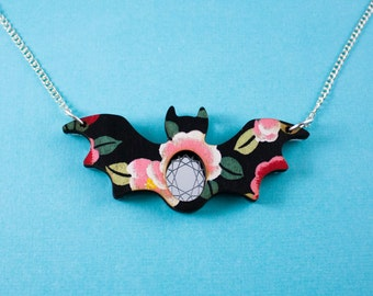 Black Rose Bat Necklace