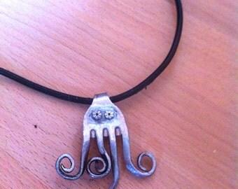 Whimsical octopus fork pendant