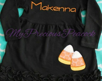 Personalized Halloween dress, black dress, candy corn