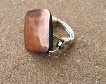 Copper Diamond Ring (Size 6)