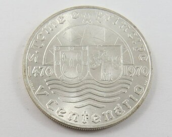 Portuguese  St. Thomas & Prince 1970 Silver 50 Escudos Coin.Subject-500th Anniversary of Discovery.