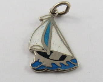Enameled Blue and White Sailboat with Sauble Beach Engraved on Back Sterling Silver Pendant or Charm. BM Co.