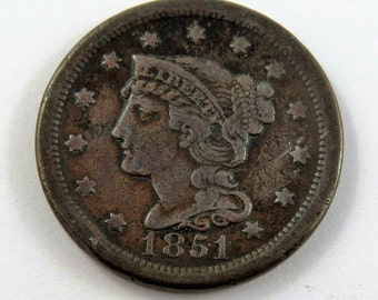U.S. 1851 Braided Hair One Cent Coin.