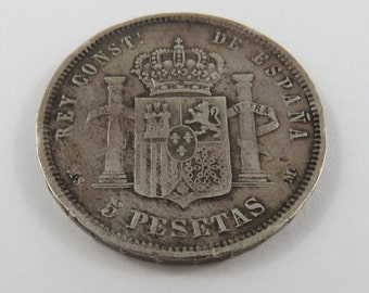 Spain 1883 MS-M Silver 5 Pesetas Coin.