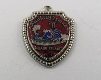 Enameled Fantasy Island Grand Island New York Sterling Silver Charm of Pendant.