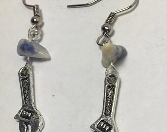 Handmade Genuine Blue Sodalite Stone Industrial Mini Silver Wrench Tool Dangle Earrings Jewelry