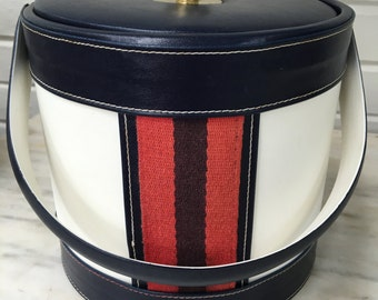 vintage Georges Bríard ice bucket, red white blue, nautical theme, retro barware, summer barbecue, preppy wine bucket, insulated ice bucket