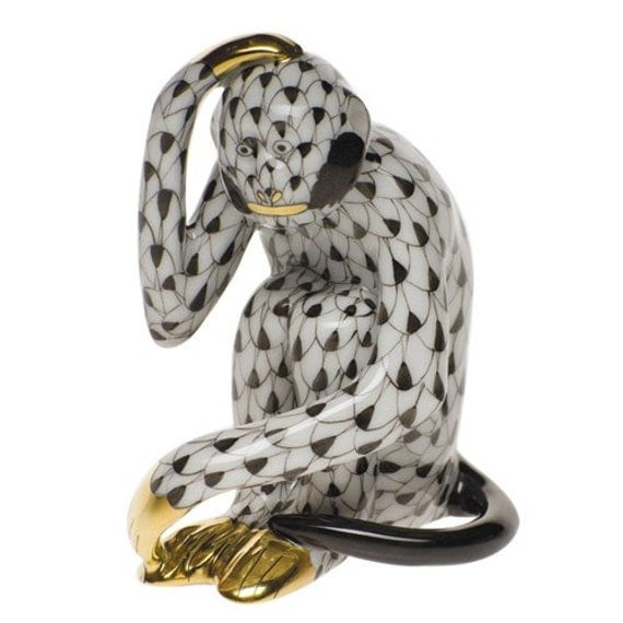HEREND MONKEY ~ Herend Monkey Hand On Head Porcelain Figurine ~ Hand Painted Black and White ~ 24K Gold Accents ~ Classic Fishnet Design