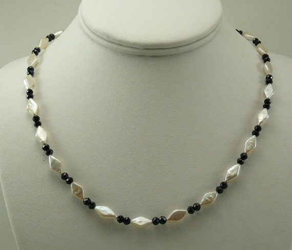 Freshwater Pearl and Black Spinel Necklace with Sterling Silver Clasp 18.5""