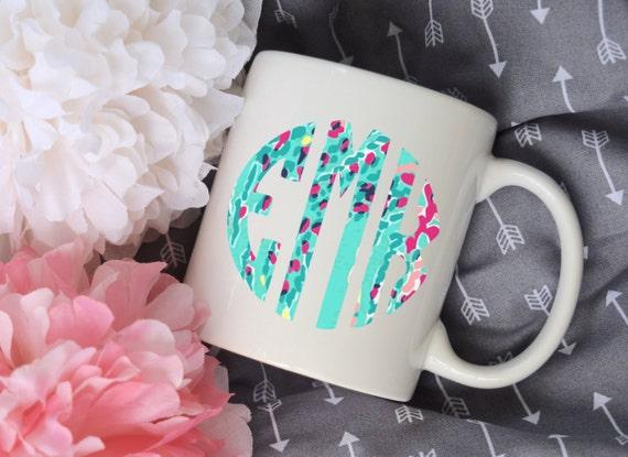 Custom Monogram Floral Pattern Sublimation Mug, 2 Sided, Circle Monogram
