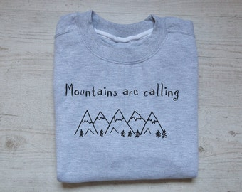 Mountains are calling sweater slouchy sweatshirt soft vintage womens mens sweatshirt camping hiking quotes sweater heather light gray