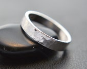 Sterling Silver Ring Hammered Band 4mm Band Thumb Ring Wedding Band 925 Sterling Silver