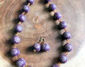 Hibiscus Necklace, Necklace and Earring Set, Purple Necklace, Floral Necklace, Wood Necklace, Beaded Necklace, Hawaiian Necklace, Toggle