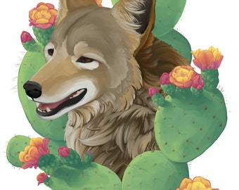 Desert Coyote and Cactus 8.5 x 11 Fine Art Print