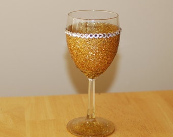 SUMMER SALE - Gold Glittered Wine Glass with Gold Flaked Glitter and Rhinestone Accents