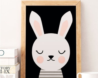 Rabbit print, Cute rabbit, Animals print, Scandinavian print, Scandinavian Nursery, Minimalist nursery, Black and white, Nursery wall decor