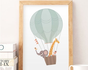 Animals wall decor, Balloon print, Nursery wall print, Nursery decor, Kid's room art, Baby room decor, Cute animals, Pastel colors art