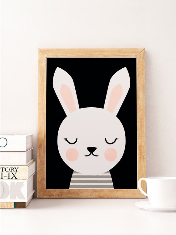 Cute Black Wall Decor : Rabbit print cute animals scandinavian
