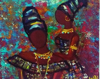Mini acrylic painting/african women/with easel