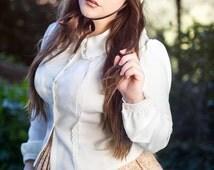 Blouse Lolita, Women Vintage Blouse, Peter pan collar blouse, Victorian blouse,Lolita Shirt, Shirt long sleeve Victorian, READY to SHIP