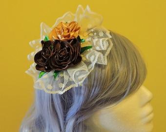 Headdress with flowers, Lolita headdress, Classic lolita, Fascinator hair clip, Country lolita headdress, Wedding Guest Gift, Victorian gift