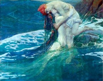 Amorous Embrace Of A MERMAID & Her Human LOVER. Stunning Mermaid PAINTING. Digital Mermaid Download. Sea Sprites Antique Art.